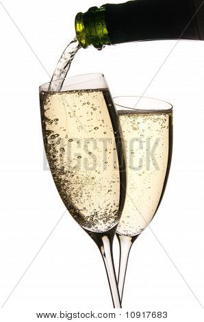 Champagne Poured In Glasses