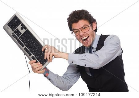 Young businessman in funny concept on white