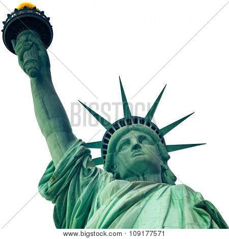The Statue of Liberty in New York City isolated on white with clipping path