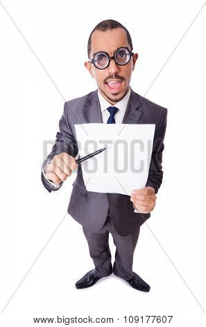 Funny businessman isolated on the white