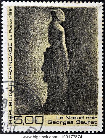 FRANCE - CIRCA 1991: A stamp printed in France shows black node by Georges Seurat circa 1991