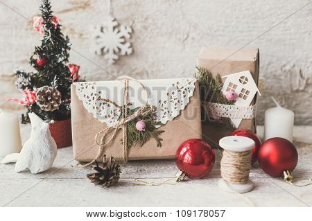 Christmas Composition With Gifts Boxes And Balls, Pine Cones