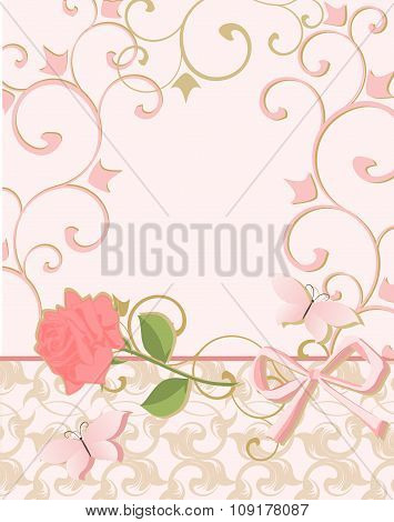 Background in pink colors with rose and butterfly.