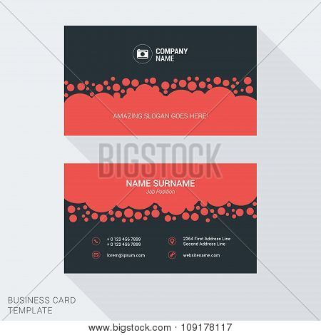 Modern Creative And Clean Business Card Template In Red Color With Circle Bubbles. Flat Style Vector