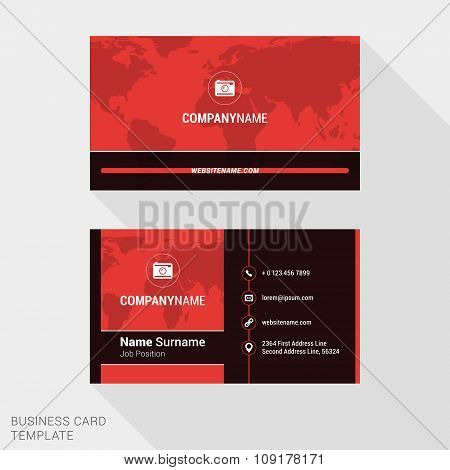 Modern Creative And Clean Business Card Template In Red Color With World Map. Flat Style Vector Illu