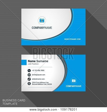 Modern Creative And Clean Business Card Template In Blue Color With Logo. Flat Style Vector Illustra