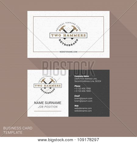 Modern Creative And Clean Business Card Template With Vintage Logotype. Flat Style Vector Illustrati