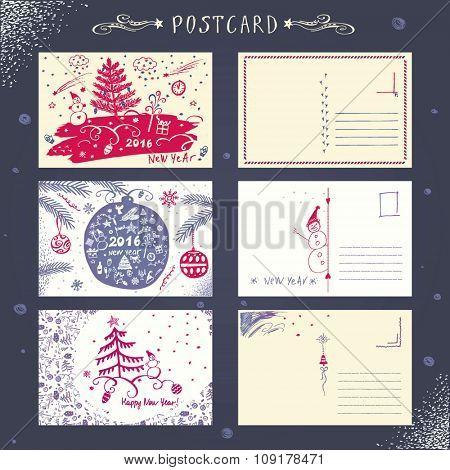 Set post card. New Year 2016.