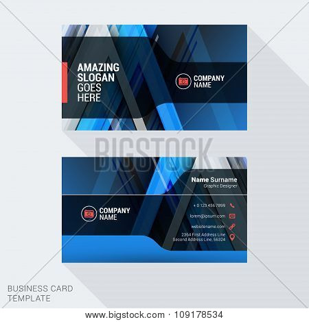 Modern Creative And Clean Business Card Template In Blue Colors With Abstract Background. Flat Style