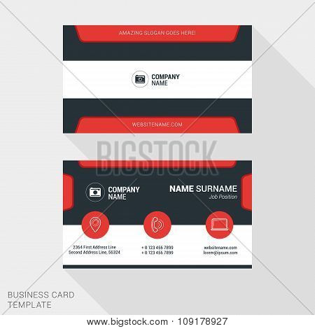 Modern Creative And Clean Business Card Template In Red Color. Flat Style Vector Illustration
