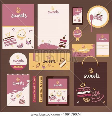 Vector stationery template design for cafe, shop.
