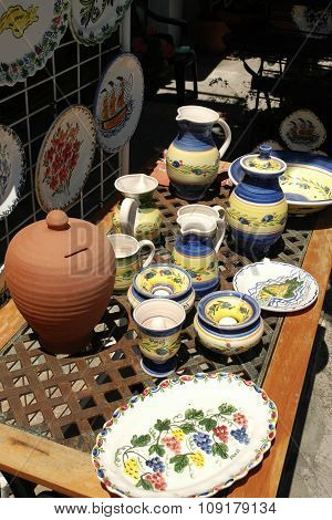 GREECE, Samos, JUN 11, 2005 - Traditional Greek painted ceramic dishes