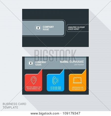 Modern Creative And Clean Business Card Template. Flat Style Vector Illustration