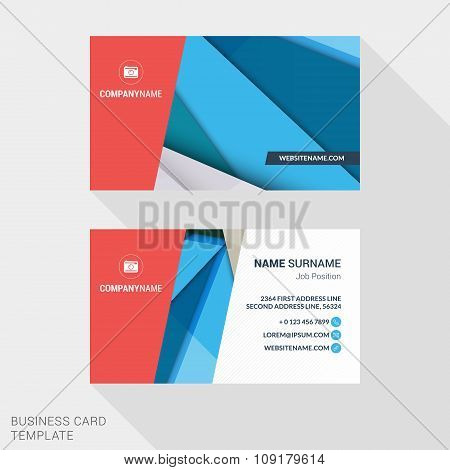 Modern Creative And Clean Business Card Template With Abstract Material Design Background. Flat Styl