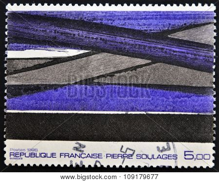FRANCE - CIRCA 1986: A stamp printed in France shows a painting by Pierre Soulages circa 1986