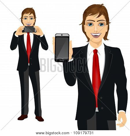 businessman displaying his smartphone