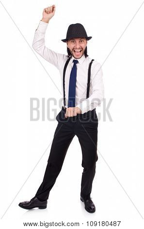 Man wearing hat and suspenders isolated on white