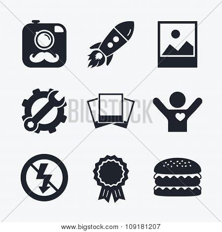 Photo camera icon. No flash light sign.