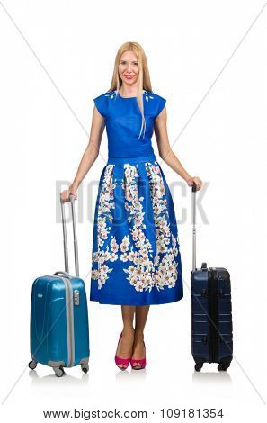 Woman with suitcases on white