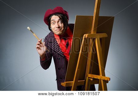 Funny artist with his artwork