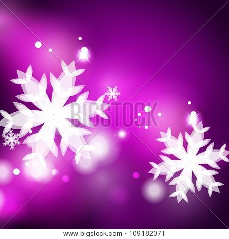 Holiday purple abstract background, winter snowflakes, Christmas and New Year design template, light shiny modern illustration