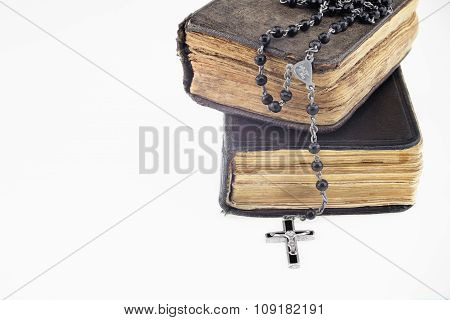 Antique Prayer-books And A Black Rosary On It