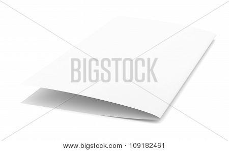 Empty paper brochure, side view