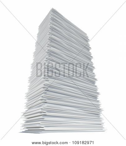 Paper tower on white