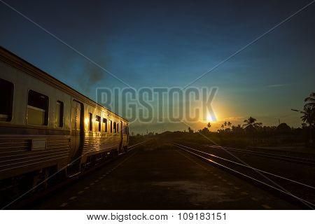 Train Running Over Rural Railway