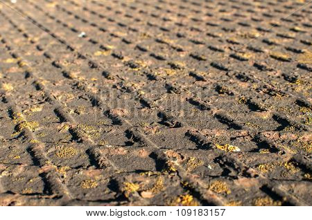 Surface of corrugated iron plate