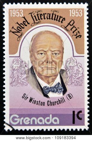 GRENADA - CIRCA 1953: A stamp printed in Grenada shows Sir Winston Churchill nobel literature prize
