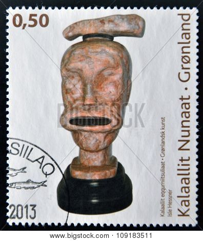 A stamp printed in Greenland dedicated to contemporary art shows work by Isle Hessner