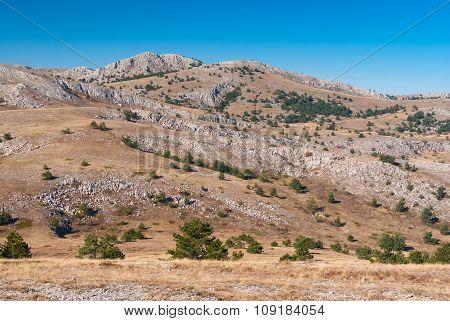 Autumnal landscape in Crimean limestone mountains