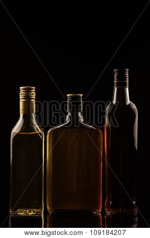 Alcohol Drinks On Black Background Without Tags