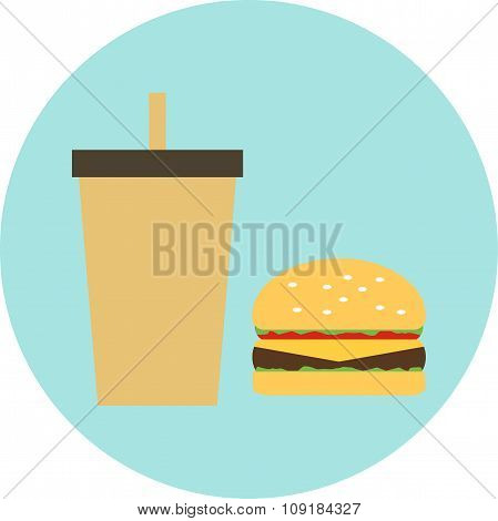 Vector Illustration Of A Flat Design Burger, Hamburger With Drink, Soda, Cola, Coffee In The Circle,