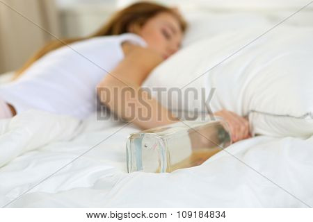 Blonde Young Woman Lying In Bed Deadly Drunken