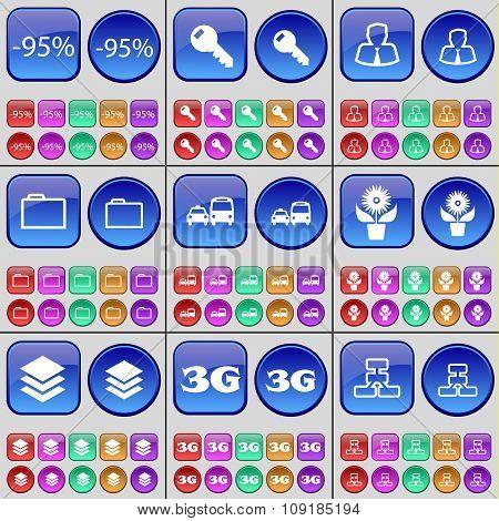 Discount, Key, Avatar, Folder, Transport, Flower, Database, 3G, Network. A Large Set Of Multi-