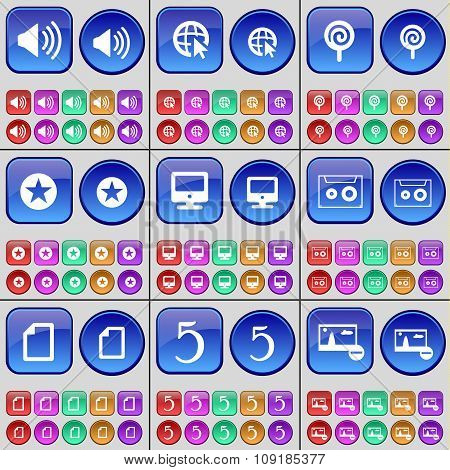 Sound, Web Cursor, Lollipop, Star, Monitor, Cassette, File, Five, Picture. A Large Set Of Multi-