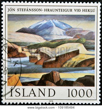 ICELAND - CIRCA 1978: A stamp printed in Iceland shows painting by Jon Stefansson circa 1978