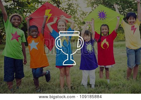 Trophy Winning Celebration Cheerful Friendship Concept