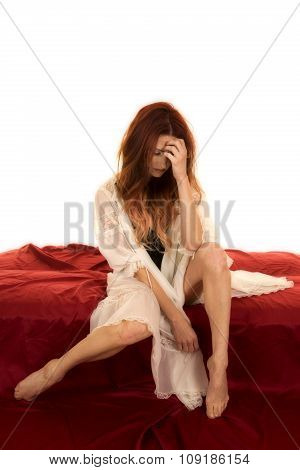 Red Head Woman In White Night Gown Over Black Stressed