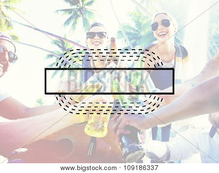 Teens People Sea Sand Beach Holidays Vacation Friends Tropical Sunny Concept