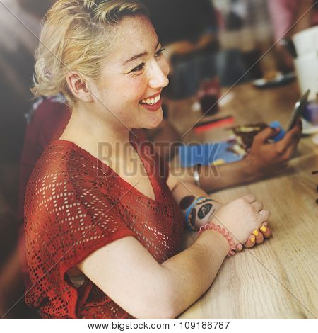 Beautiful Woman Cafe Happiness Smiling Concept