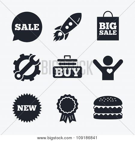 Sale speech bubble icon. Buy cart symbol