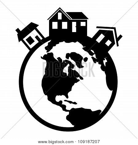 Houses in the world black icon