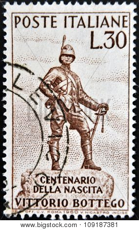 ITALY - CIRCA 1960: stamp printed in Italy shows Bottego Statue Parma circa 1960
