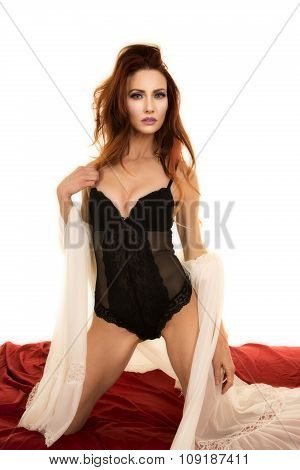 Woman With White Night Gown Open Ove Black Kneel Look