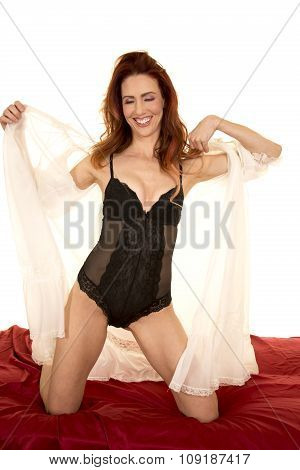 Woman With White Night Gown Open Over Black Laugh