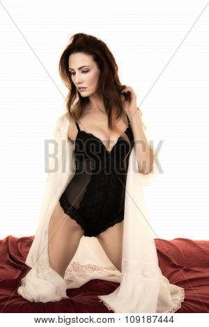 Woman With White Night Gown Open Over Black Look Down