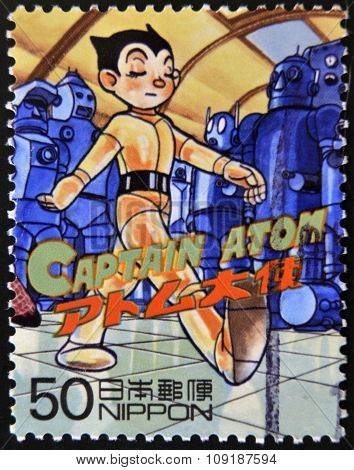 JAPAN - CIRCA 2000: A stamp printed in Japan shows Captain Atom circa 2000